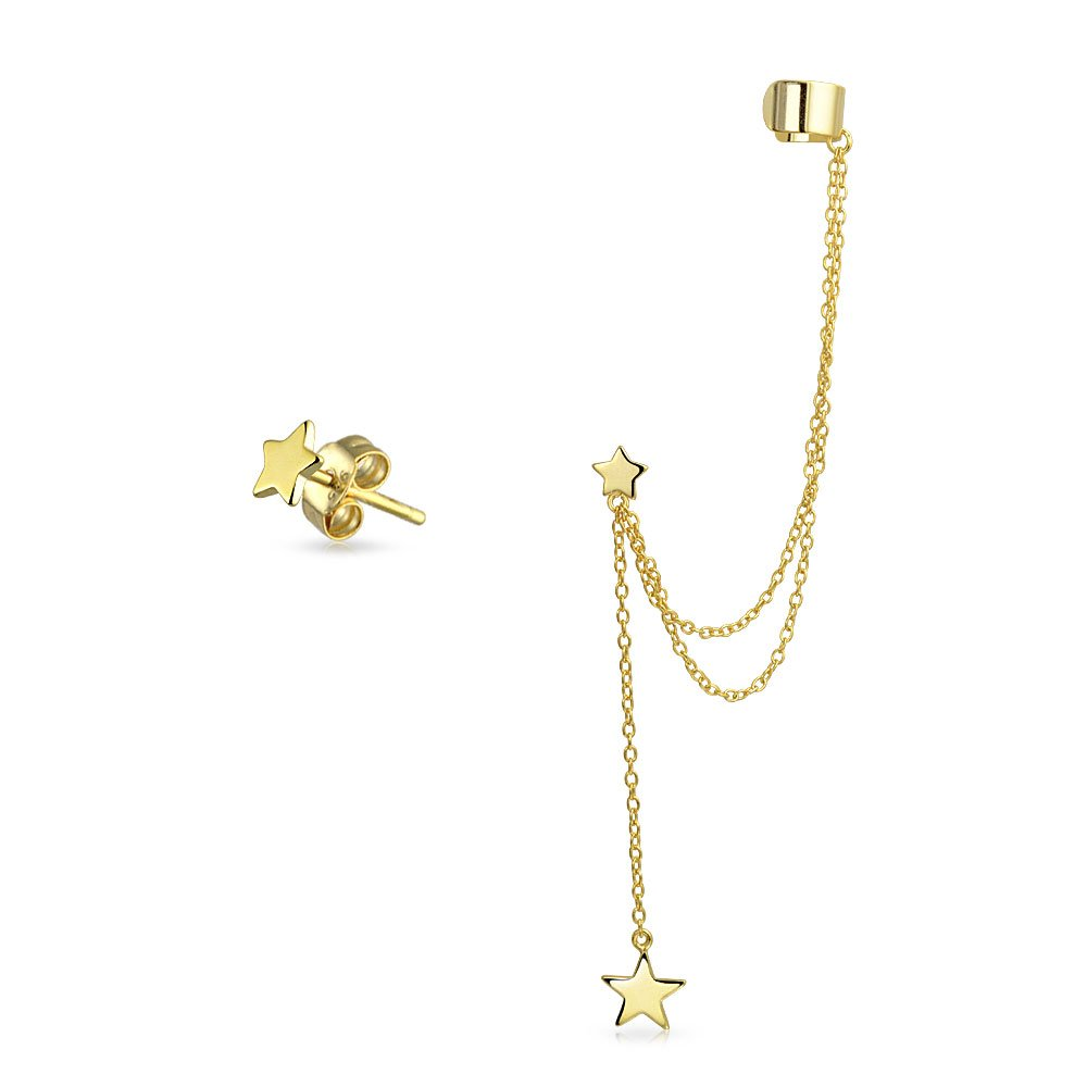 Double Linked Earrings Stars Ear Cuff Set Gold Plated Silver