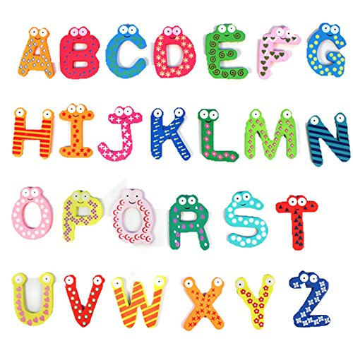 Usstore Baby Kid Child 26 Letters Wooden Cartoon Fridge Magnet kid Baby Educational Toy Gift