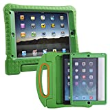 HDE iPad Air 2 Bumper Case for Kids Shockproof Hard Cover Handle Stand with Built in Screen Protector for Apple iPad Air 2 (Green)
