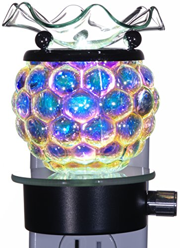 TVaromatics Iridescent Carnival Glass Plug-in Aroma Lamp Oil Warmer with Dimmer - ()