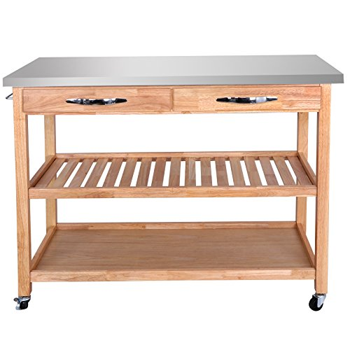 SUPER DEAL Zenchef Rolling Kitchen Island Utility Kitchen Serving Cart w/Stainless Steel Countertop, Spacious Drawers and Lockable Wheels, Natural (Upgraded Stainless Steel) by SUPER DEAL (Image #1)