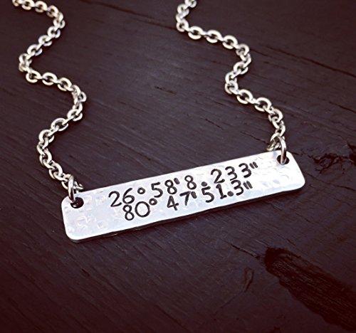 Custom Coordinates Bar Necklace | Latitude Longitude Jewelry | Location GPS Coordinates Gift | Wedding Or Anniversary Jewelry Gift For Her