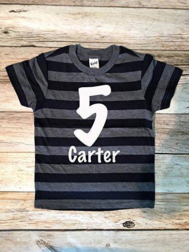 Name Monogram Birthday Shirt 5th Boy Boys