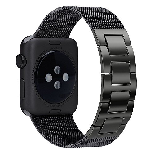 Mens Personalized Metal Watch (ImmSss Apple Watch Bands 38mm 42mm for Women Men,Solid Stainless Steel Cowboy Bracelet Style Replacement Strap for Apple Watch Series 3 Series 2 Series 1 (Milanese-Black, 42MM))