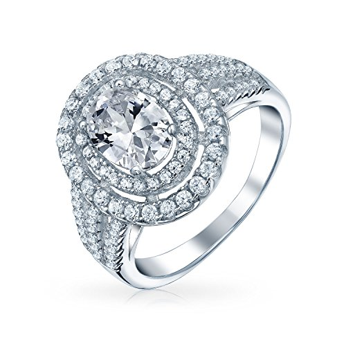 Art Deco Style 1CT Double Pave Halo Oval Solitaire Split Shank AAA CZ Engagement Ring For Women 925 Sterling Silver ()