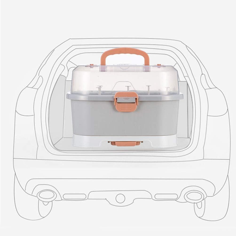 TOYANDONA Caja de Almacenamiento de Biber/ón Estante de Secado de Biberones con Tapa Organizador de Vajilla para Beb/és para Viajes Al Hogar Al Aire Libre