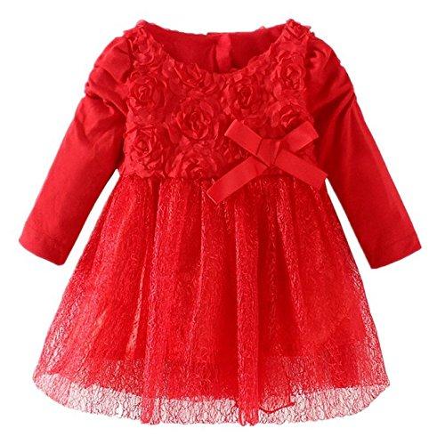 Wennikids Baby-Girls Red Rose Flower Christening Birthday Party Dress