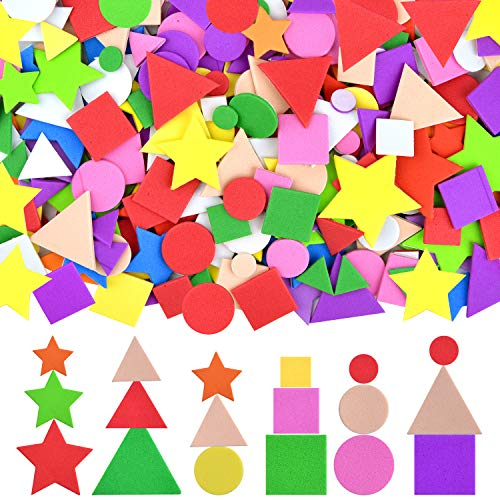 Coopay Foam Stickers Geometry Self-Adhesive Geometry Shapes Stickers Assorted Colors for Kid's Arts Craft Supplies