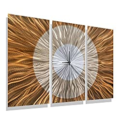 Statements2000 Modern Metal Wall Clock Art Panels Orange, Gold and Amber Decor by Jon Allen - Afterglow Clock