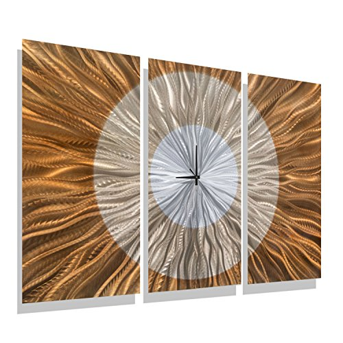 Large Contemporary Wall Clock with Orange, Gold and Amber Jewel Tone Fusion - Modern Metal Wall Art Home Accent - Hanging Wall Clock - Afterglow Clock By Jon Allen - 38-inch - Amber Wall Art