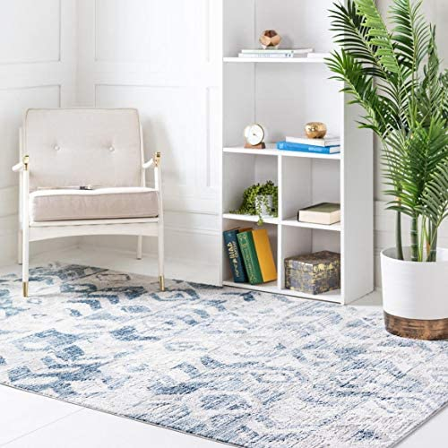 Rugs.com Caspian Collection Area Rug 9X12 Blue Low-Pile Rug Perfect