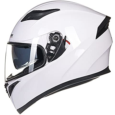 ILM 9 Colors Full Face Dual Visor Motorcycle Helmet DOT (M, WHITE) - White Full Face Helmet