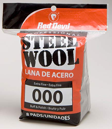 Red Devil 0321 Steel Wool, 000 Extra Fine,  8 Pads
