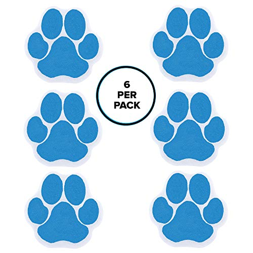 SlipX Solutions Adhesive Paw Print Bath Treads Add Non-Slip Traction to Tubs, Showers, Pools, Boats, Stairs & More (6 Count, Reliable Grip, Blue)