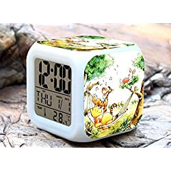 Cartoon Winnie the Pooh Digital LED 7 Changed Colorful Light Alarm Clocks Thermometer Night Electronic Kids Toys Best Gift for Children (Style 14)