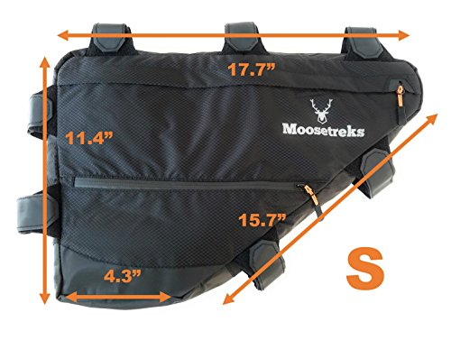Moosetreks Bicycle Full Frame Pack | Bikepacking, Bike Touring, Commuting Full Frame Bag | Small (6.5L), Medium (12L), Large (14L) | Extremely Water Resistant