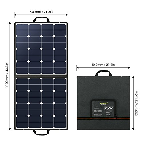 Suaoki 100W 18V 12V Solar Panel Charger SunPower Cell Portable Foldable with Dual Output (5V/2A USB + 18V/5A DC), 10 Laptop Connectors for Smartphones, Laptops, Car Batteries, Generator, Power Source by SUAOKI (Image #1)