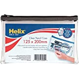 """Helix 8"""" Clear Pencil Case (Pack of 12 in 3 assorted zip colours)"""