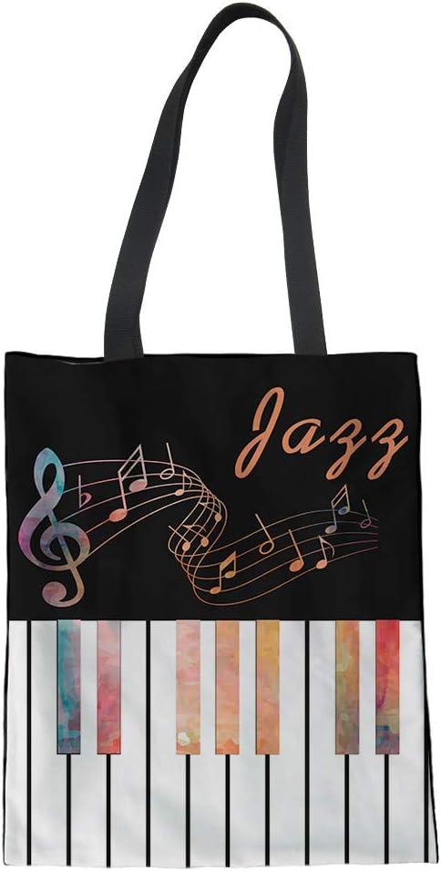 ZXXFR Femmes Occasionnels Musique Grand Sac Shopping Eco Totes pour Mesdames Mode Filles Piano(Taille/ 42X34X1.5Cm),Cc6195Z22