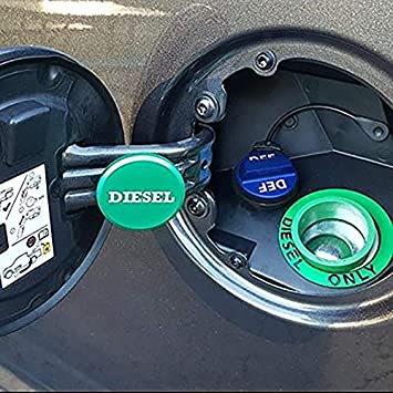 Henzxi Dodge Fuel System Cap Magnetic Ram Diesel Billet Aluminum Green Fuel Cap and Non-magnetic Blue DEF Cap Combo Pack for 2013-2018 Dodge Ram Truck 1500 2500 3500