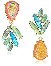 Betsey Johnson (GBG) Paradise Lost Women's Pineapple Mismatch Drop Earrings, Yellow, One Size