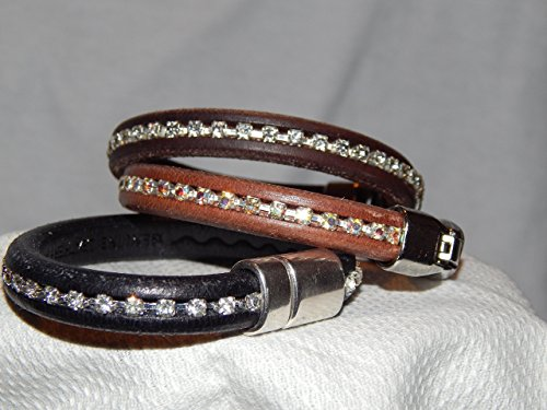 Brown, Black and Cooper colored Leather cord and rhinestone Bracelet with Silver Magnet closure. (All sold separately)
