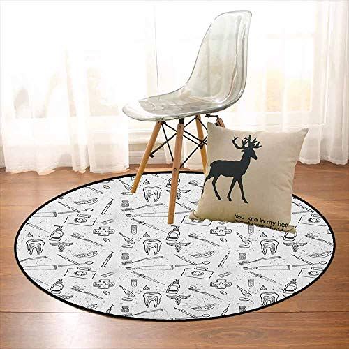 Dental Fibers Tooth Powder - Doodle Non-Slip Absorbent Carpet Hand Drawn Style Medical Pattern with Dental Hygiene Theme Teeth Care Cleaning Better underfoot Protection D39.7 Inch Black and White