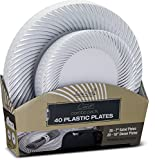 Laura Stein Designer Tableware Set of 40 Party Plates White And Silver Rim Curve Series Includes 20 -7.5'' Salad Plates & 20- 10.75'' Dinner Plates Heavy Duty Plastic Disposable Dishes Combo
