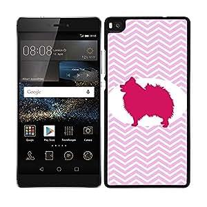 Funda carcasa para Huawei P8 Lite diseño perro pomerania silueta estampado zigzag zig-zag borde negro