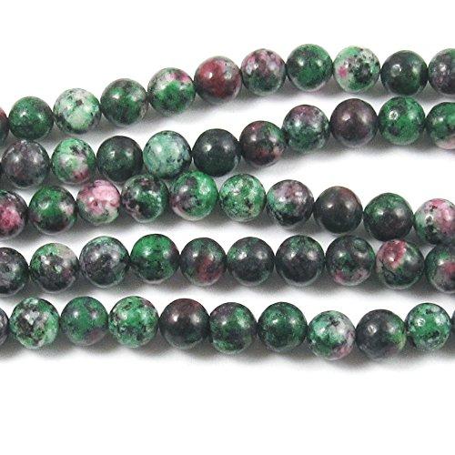 "Round Gemstone Beads-Green Pink Ruby Zoisite 6mm 15"" strand (62)"