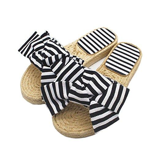 Pantoufles d'imitation Sandales Rayures Chaussures Confortable Mode Herbe Polyvalent Adorab Bow Femme Shoes Chausson Tissage wtWnqYHHR8