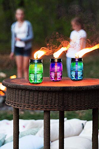 Mason Jar Tiki Torch Kits,4 Pack Regular Mouth Lids,4 Long Life Torch Wicks and Caps Included,Oil Fuel Lamps for Patio Table Top Torch Lantern(No Jar) by Autorch (Image #1)