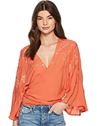 Lucky Brand Womens Embroidered Wrap Top