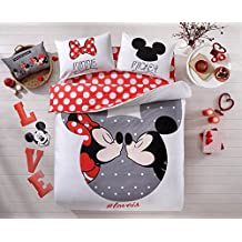 Mickey and Minnie Mouse King Queen Adults Cartoon Bedding Set Cotton Bed Sheet Linens Doona Duvet Cover/comforter Cover Sets (Red, Queen) Beloved