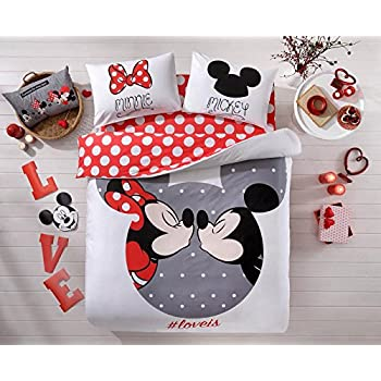 mickey and minnie mouse king queen adults cartoon bedding set cotton bed sheet. Black Bedroom Furniture Sets. Home Design Ideas