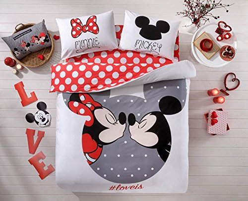 Mickey and Minnie Mouse King Queen Adults Cartoon Bedding Set Cotton Bed Sheet Linens Doona Duvet Cover/comforter Cover Sets (Red, Queen) Beloved (Bedding Sets Mickey Mouse Queen)