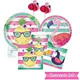 Flamingo Pineapple Party Supplies - Plates, Cups, Napkins & Cupcake Toppers for 16 People - Perfect Decorations for Birthday Party, Baby Shower, Bridal Shower, Luau, Bachelorette and All Lavish Events