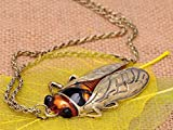 Alilang Antique Golden Tone Orange Vintage Insect Fly Beetle Bug Chain Pendant Necklace