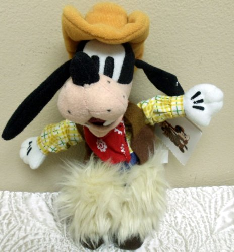 "Retired Hard to Find Disney Western Rodeo Bull Riding Cowboy 7"" Plush Goofy Bean Bag Doll"