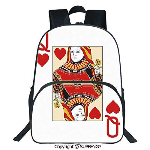 (SCOXIXI Laptop Backpack Queen of Hearts Playing Card Casino Decor Gambling Game Poker Blackjack Deck (15.75