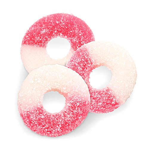 Pink Candy Buffet - FirstChoiceCandy Albanese Gummi Watermelon Light Pink & White Gummy Rings 2 LB