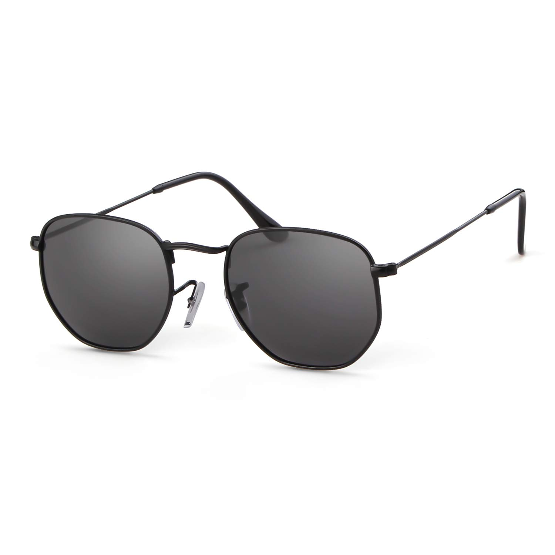 18b36d27a262d Hexagonal Polarised Sunglasses Women Men Gifiore UV400 Flat Mirrored Lens  Metal Rim Geometric Unisex Glasses  Amazon.co.uk  Clothing