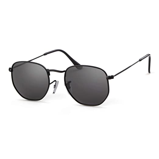 2a2cf1a196 Men Women Polarized Sunglasses Small Square Hexagonal Polygon Sun Glasses  (Black Frame Grey Lens