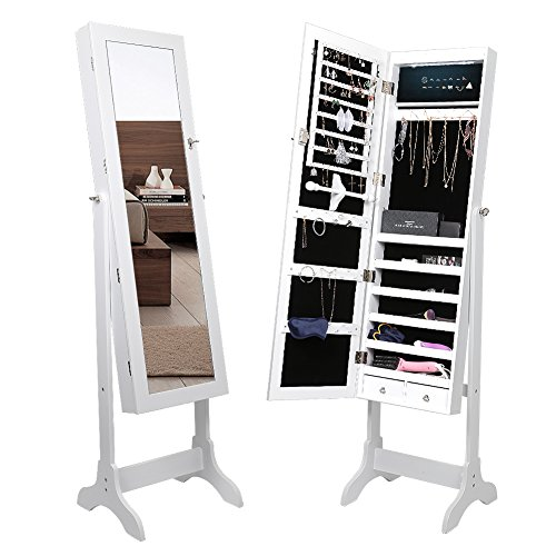 Five Drawer Floor Cabinet - Amoiu Floor Standing & Lockable Jewellery Cabinet,Standard-length Cabinet with LED Lights, 2 Drawers,5 Storage Racks for Rings, Earrings, Bracelets, Necklaces,Brooches and Cosmetics, White