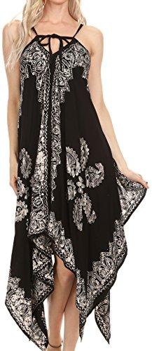 Sakkas 17801 - Arminat Batik Print Adjustable Strap Embroidered Handkerchief Hem Dress - Black/White - L/XL