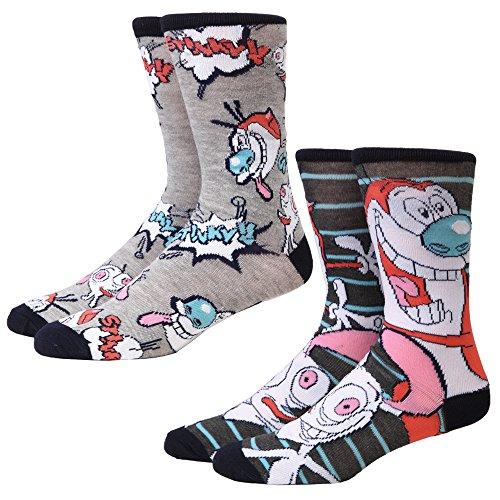 Ren & Stimpy Faces/Allover Print 2-pack Adult Crew Socks