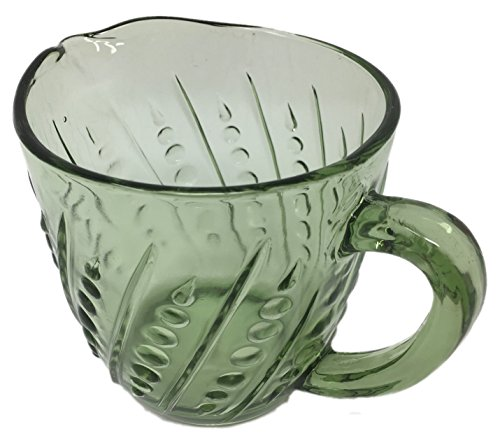 Rhyne and Son Milk Creamer Bead & Bar Beaded Design, Depression Style Glass Pitcher (Green)
