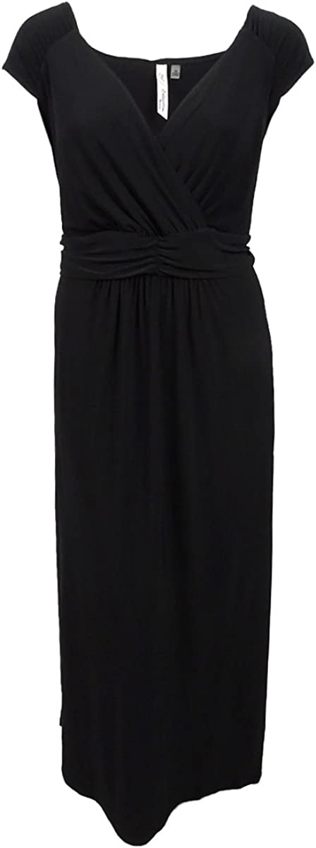 NY Collection Womens Ruched Empire Maxi Dress