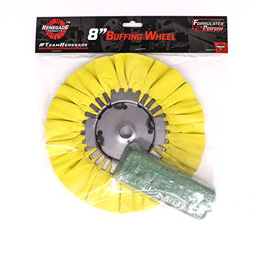 Renegade Products Coloring 8 Inch Diameter Airway Buffing Wheel and Green Compound Set For Polishing Aluminum Wheels, Fuel Tanks, Fenders & Bumpers, 2 Item Pack (Coloring Combo)