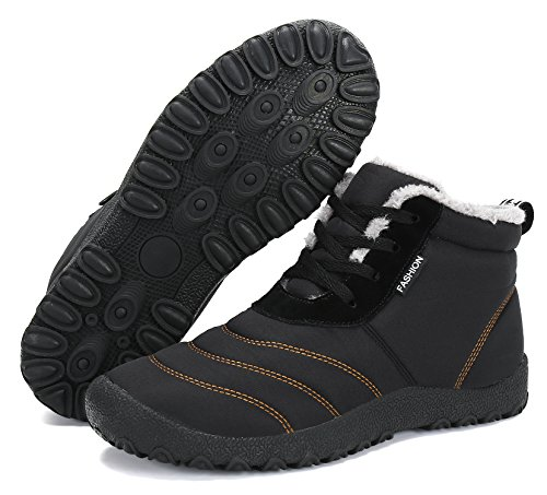 Outdoor Damen Schneestiefel Schuhe Schnür Freizeit Schwarz Wasserdicht Gefüttert Warm Kurz Winterschuhe Herren Stiefel Winter Boots PqRwP